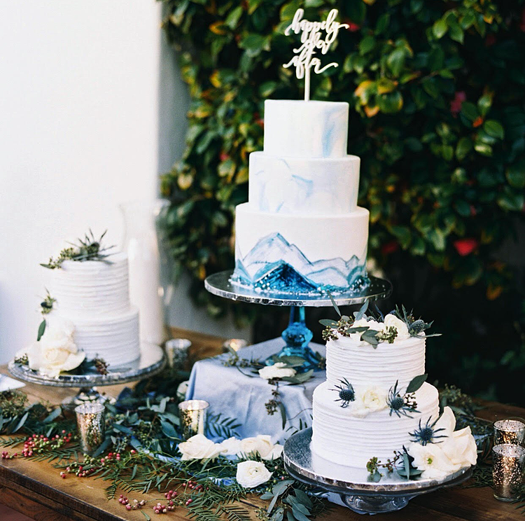 Mountain Inspired Wedding Cake Display by Cute Cakes Bakery