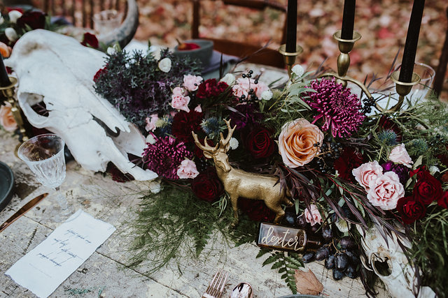 Dark & Mysterious Forest Wedding Table Setting