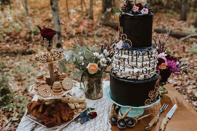 Elaborate Dessert Spread - Gothic Wedding