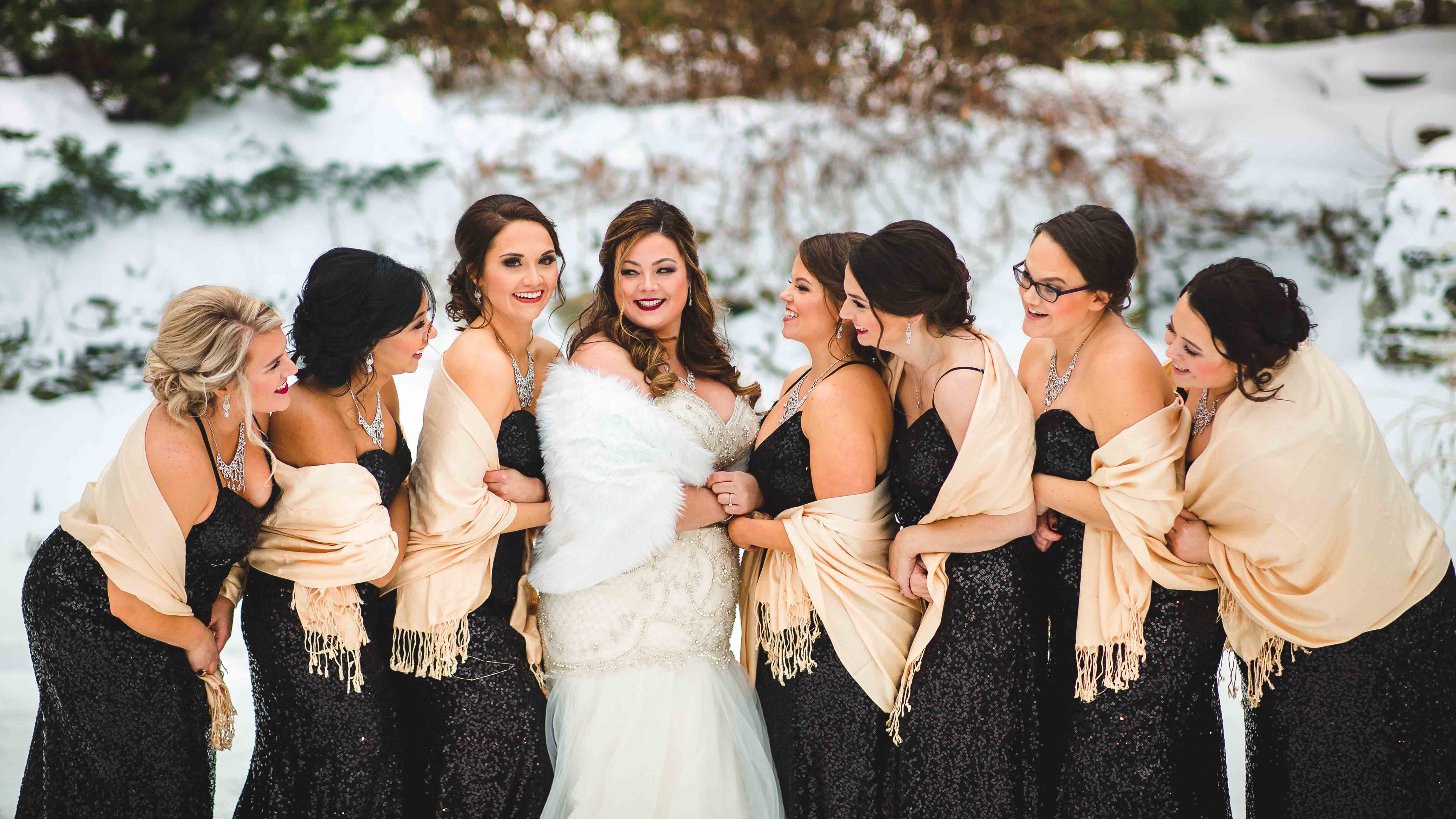 Beautiful Winter Bridal Party at Granite Rose