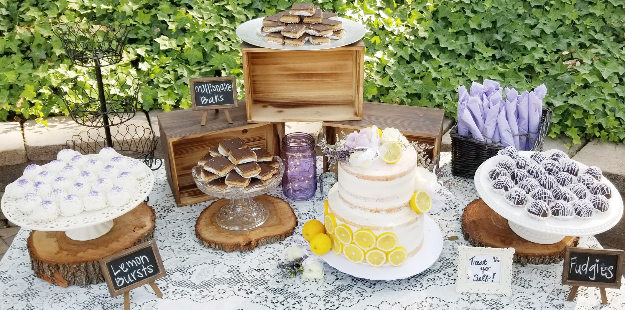 Lemon & Chocolate Wedding Cake Display Table