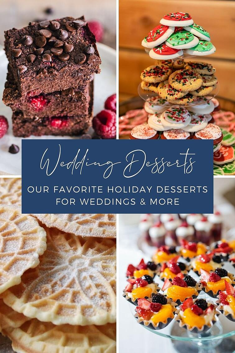 Are you planning a holiday wedding? Embrace the festive nature of the season! Consider offering some of our favorite holiday sweets as your wedding dessert. Today we sit down with one of our wedding professionals to get her first-hand advice on the best holiday desserts to include in your wedding menu. Think gingerbread cookies, decadent brownies, pizelles, and more. Get your holiday wedding dessert inspiration here!