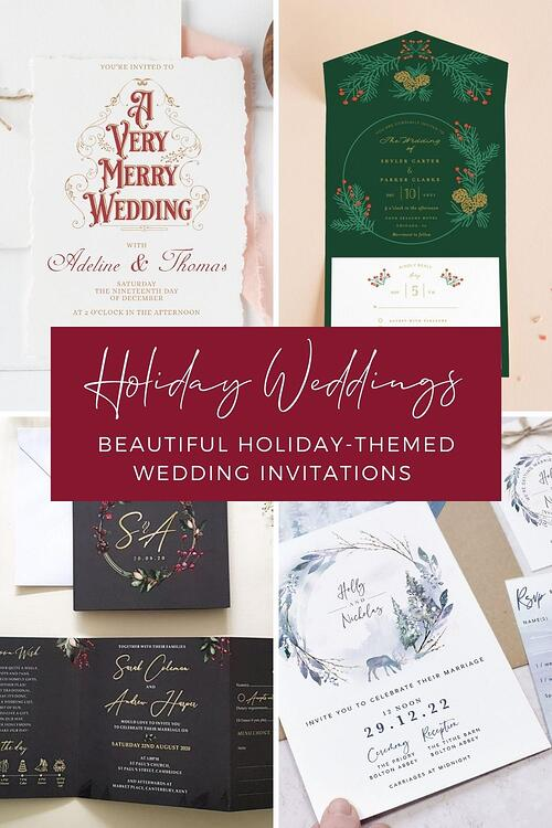 From the family gatherings to festive decor and staying warm by the fire, we love the holidays. What a perfect time to celebrate your love than a season dedicated to love and joy. A festive holiday wedding theme sets the stage for a diverse array of color palettes and accents to make your special day stand out from the crowd. Let's take a look at some of our favorite ways to incorporate that holiday cheer into the most beautiful and joyful wedding invitations. From winter wonderland to contemporary woodland, you'll be sure to be inspired!