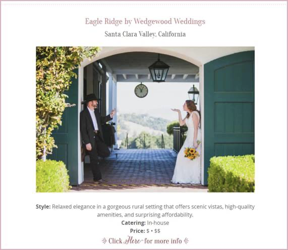 Eagle Ridge Awarded 'Best Affordable Wedding Venue' in San Jose