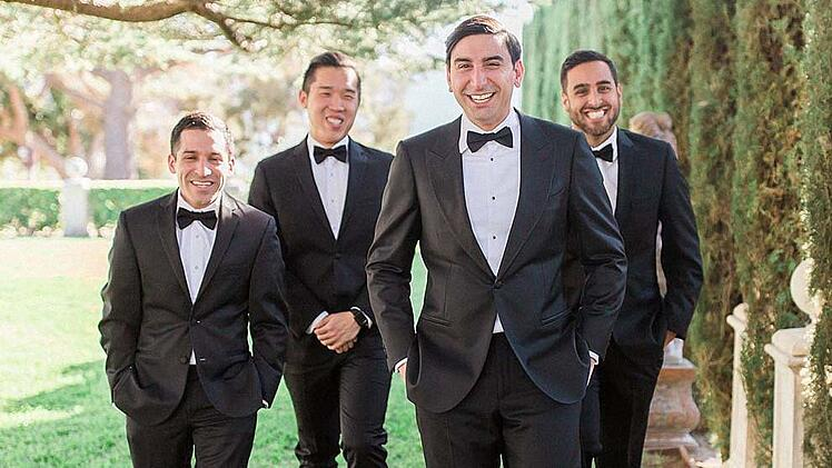 Groom's Party In Classic Black Tuxedos at Jefferson St Mansion
