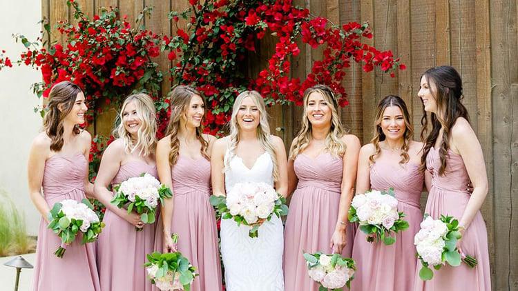 Bride & Bridesmaids in Dusty Rose Dresses