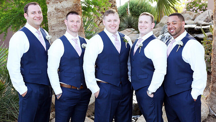 Matt and his groomsmen looked very dapper in their navy tuxedos