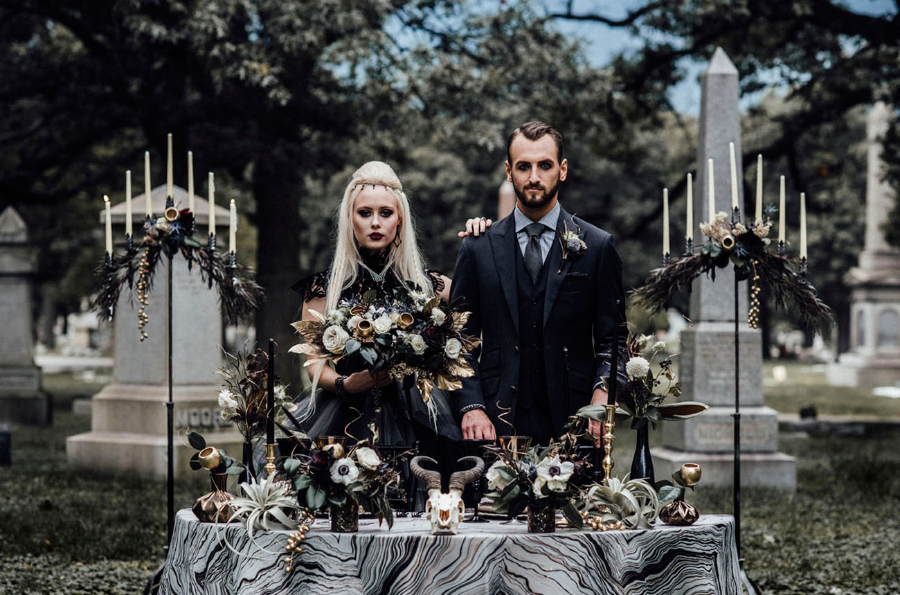 Halloween Inspired Cemetery Wedding