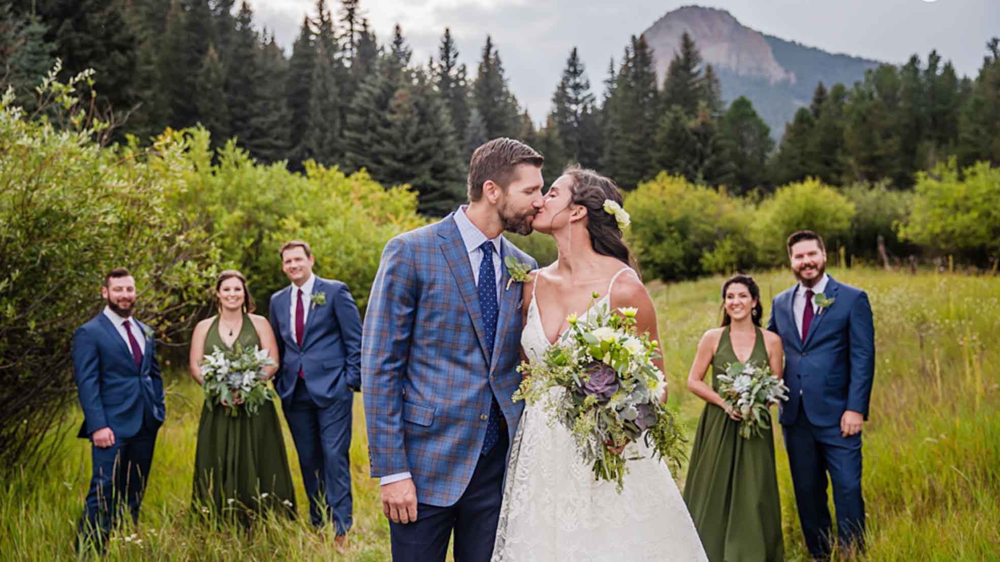 High-Fashion Mountain Wedding With Plaid Suit Jacket