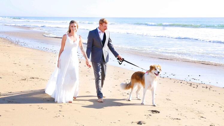 Jillian and Josh enjoy a stroll on the beach at Ventura Harbor with their fur child
