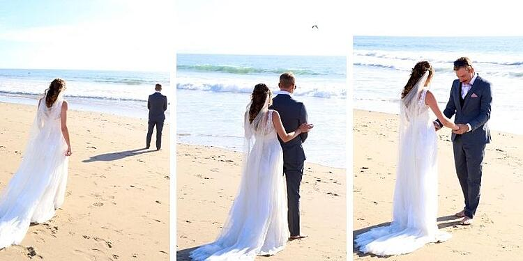 LILLIAN AND JOSH SHARED AN INTIMATE MOMENT ON THE BEACH DURING THEIR FIRST-LOOK