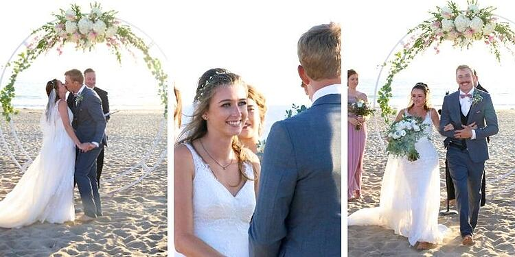LILLIAN AND JOSH EXCHANGE VOWS AGAINST A SETTING SUN WITH THE PACIFIC OCEAN