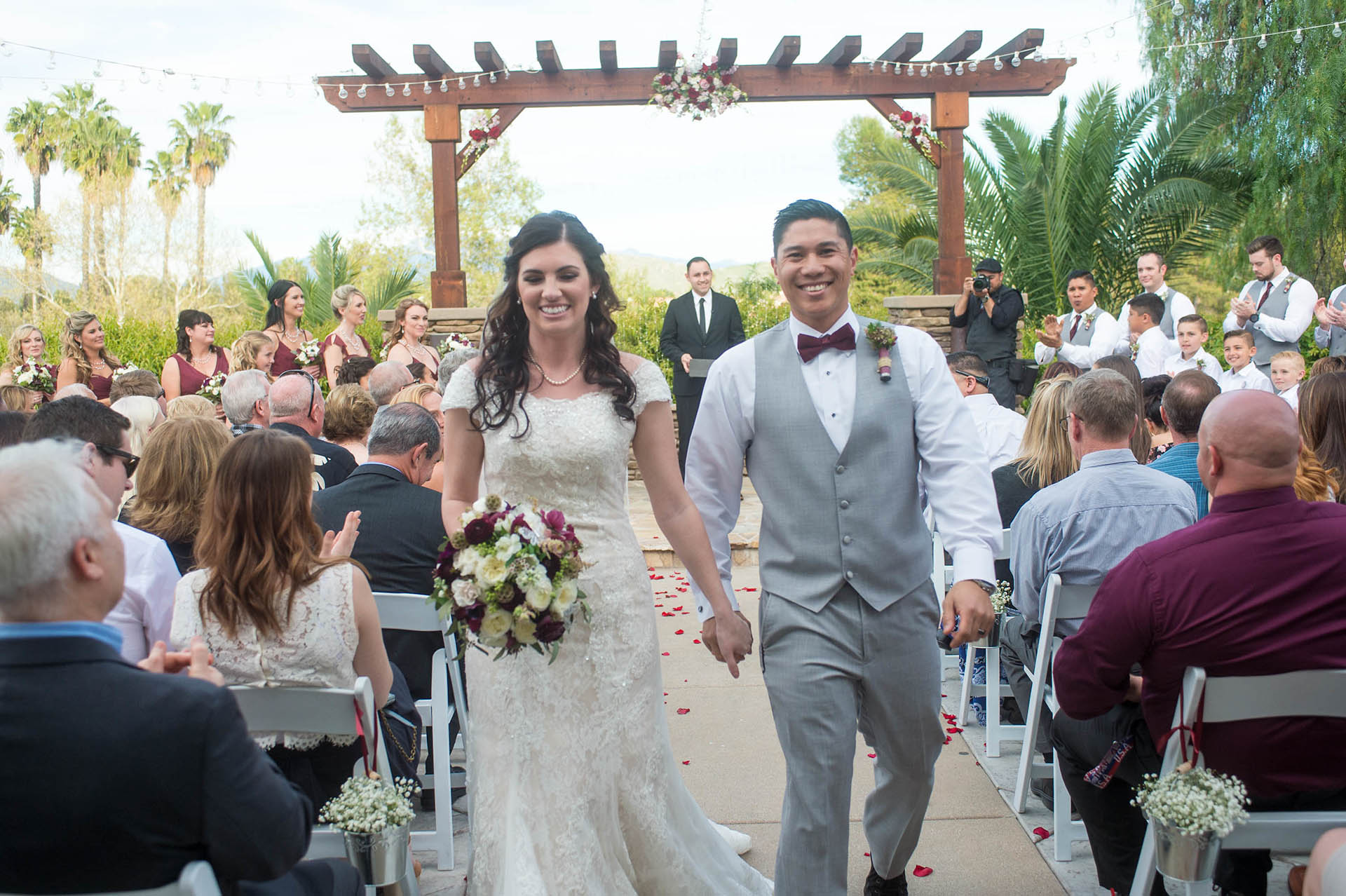 Host your ceremony on the patio with an elegantly rustic arbor overlooking the greens or by the tranquil fountain for a more intimate feel.