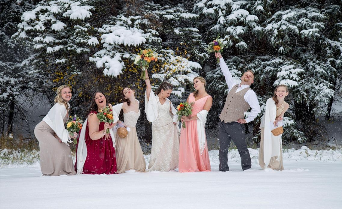 Bridal Party Snow-Mountain View Ranch
