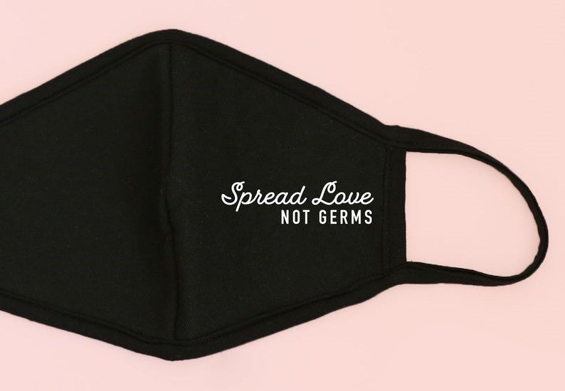 spread love not germs face mask etsy