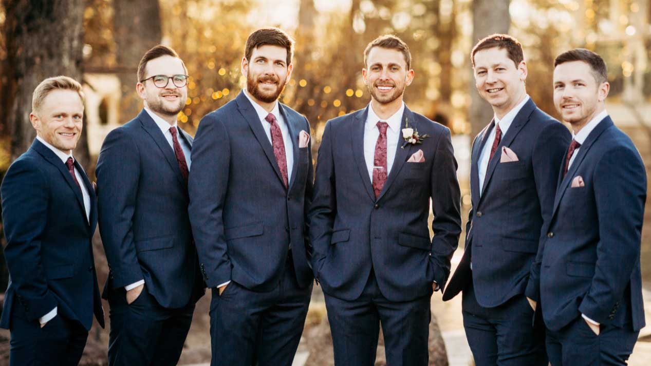 Dark Gray Suits & Maroon Paisley Ties for this Groom's Party