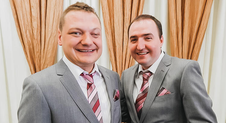 Stewart (right) with husband Thomas on their wedding day in 2015