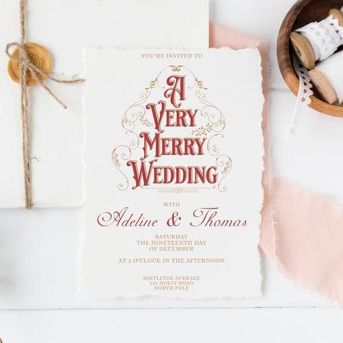 Vintage Red & White WEDDING INVITATION from ETSY