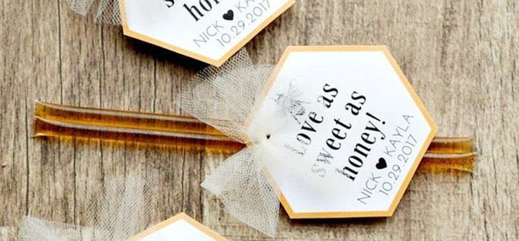 Wedding favor honey-sticks from Etsy