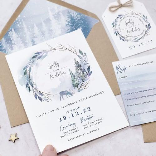 WINTER WONDERLAND WEDDING INVITATION SET