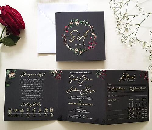 CONTEMPORARY WOODLAND WEDDING INVITATION WITH GOLD FOIL