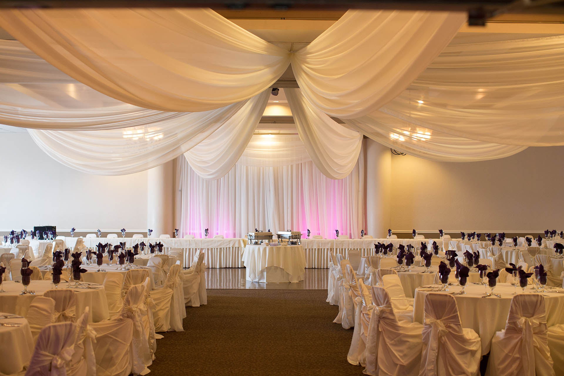 Classic banquet room for wedding receptions