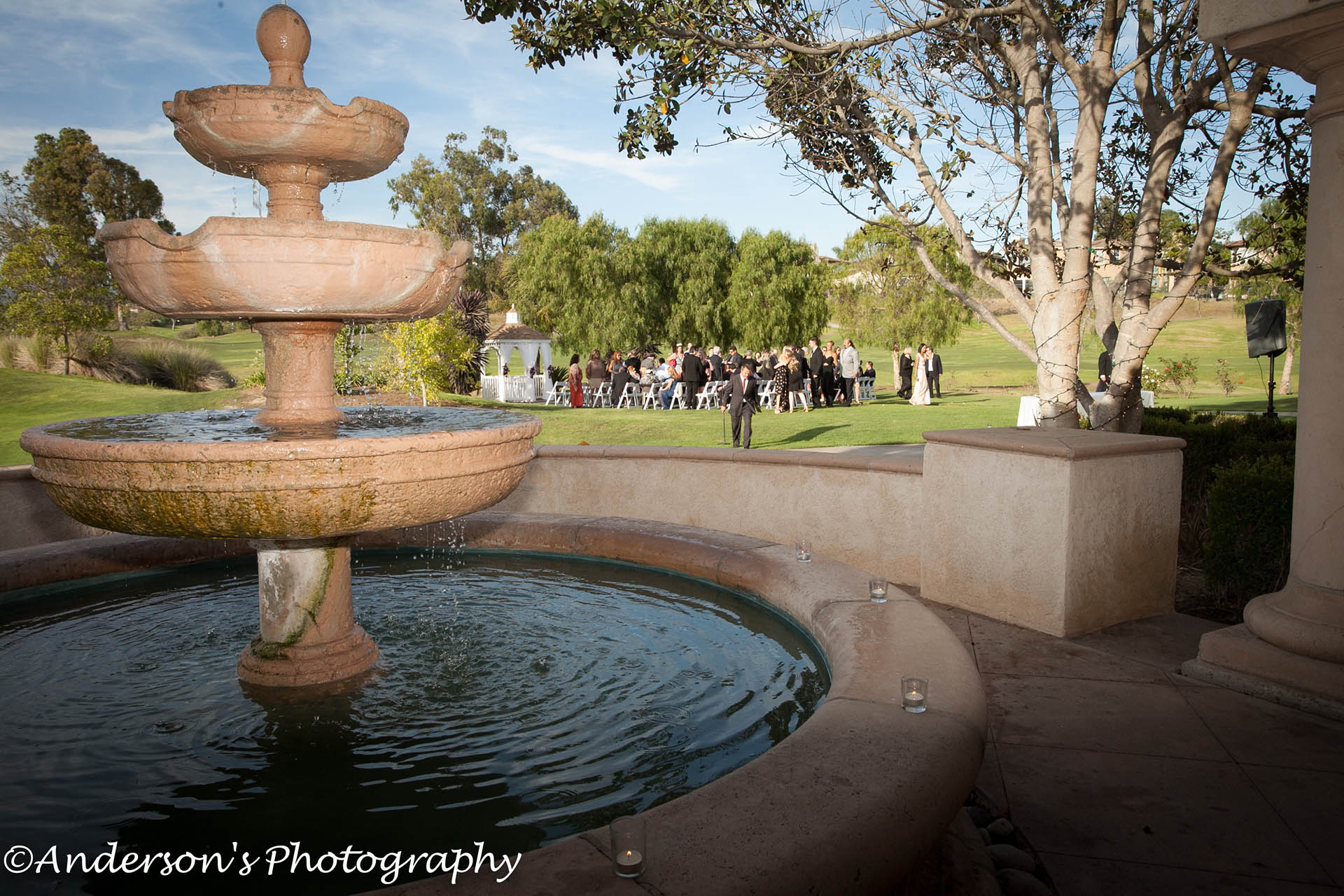 Fountain view to the ceremony
