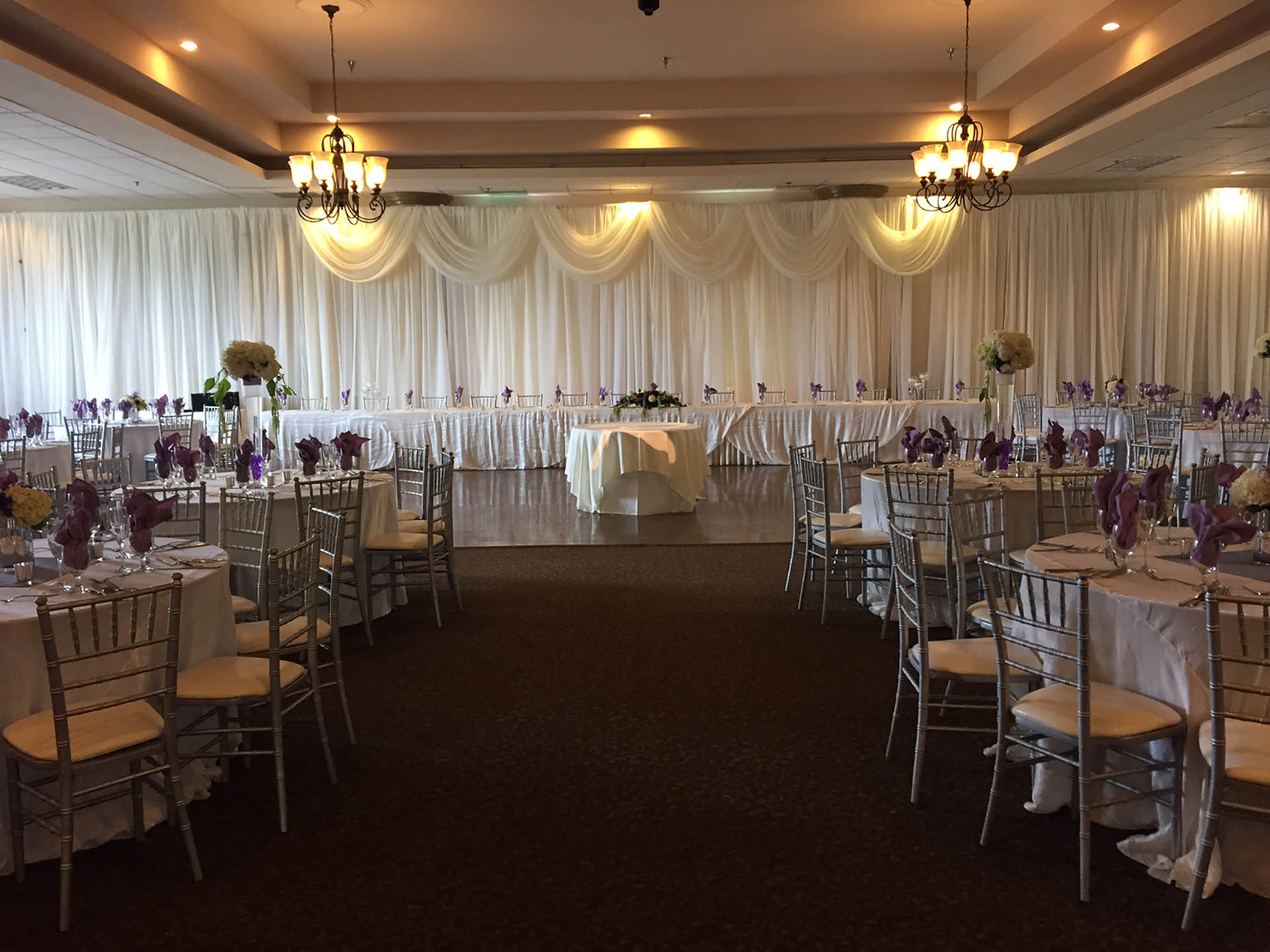Our spacious ballroom has neutral decor, perfect for any style or theme