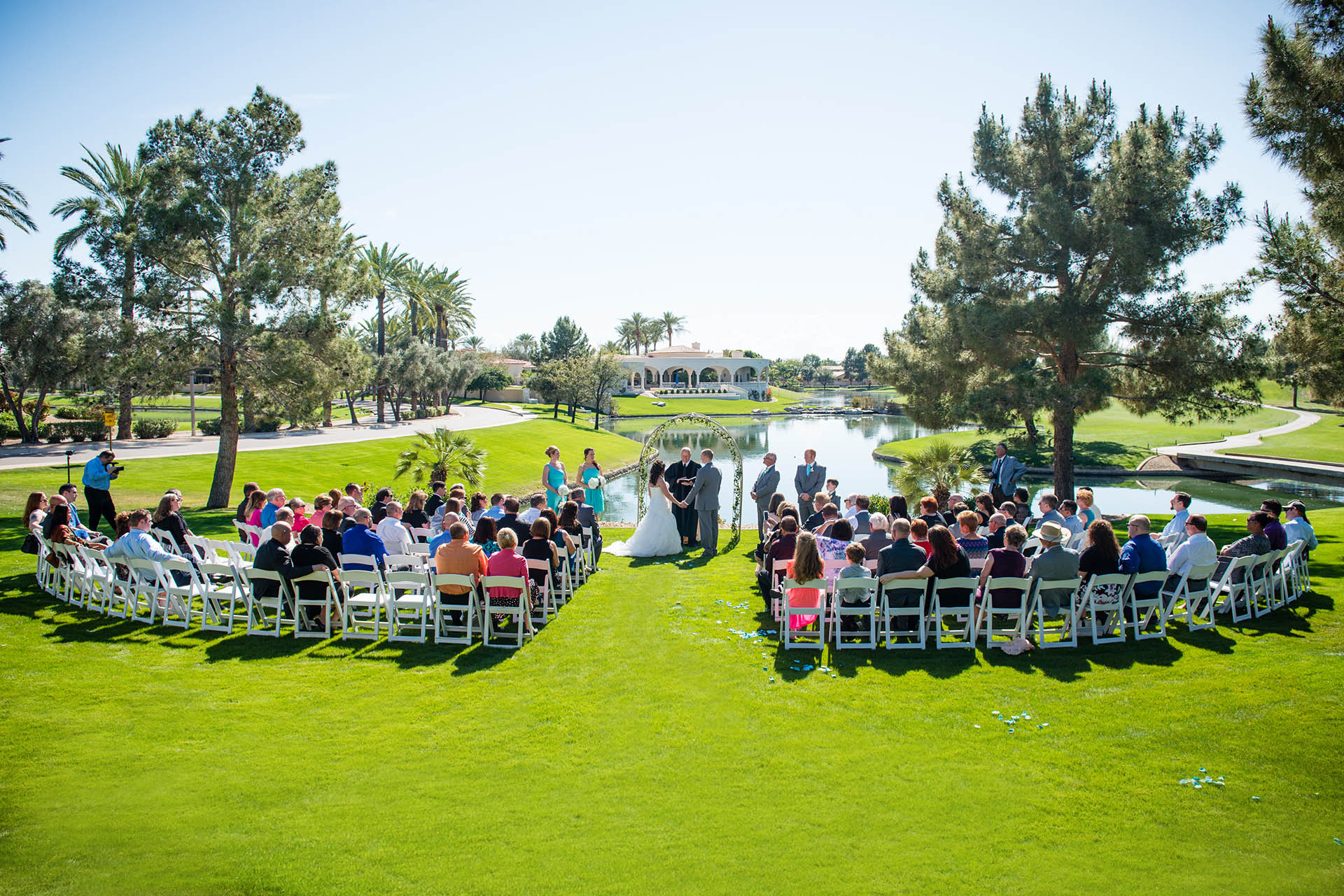 Wedding ceremony on the lower lawn