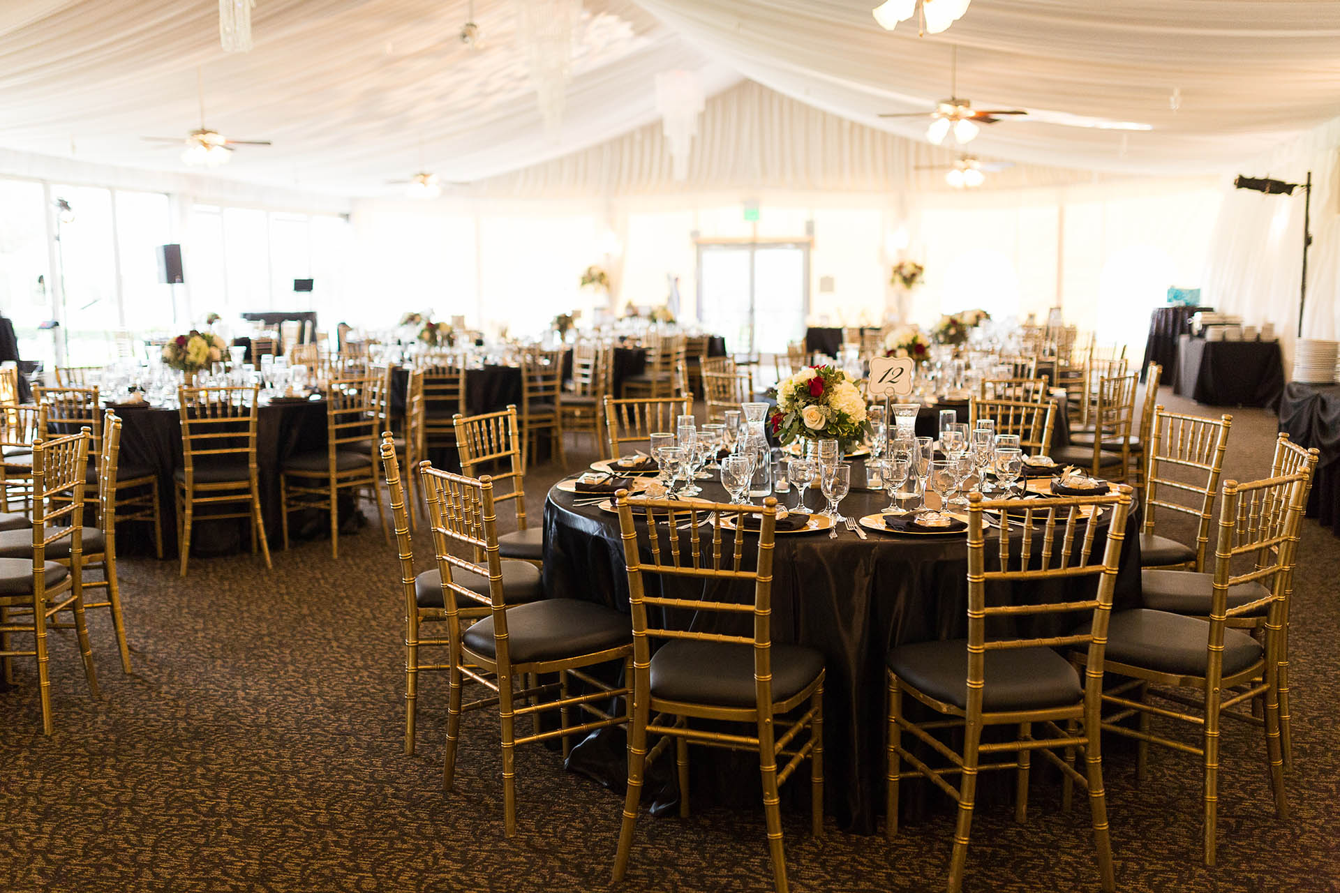 Beautiful wedding reception inside the Mountain View Room