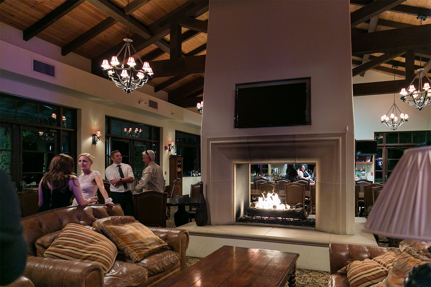 Dual sided fireplace in the bar lounge