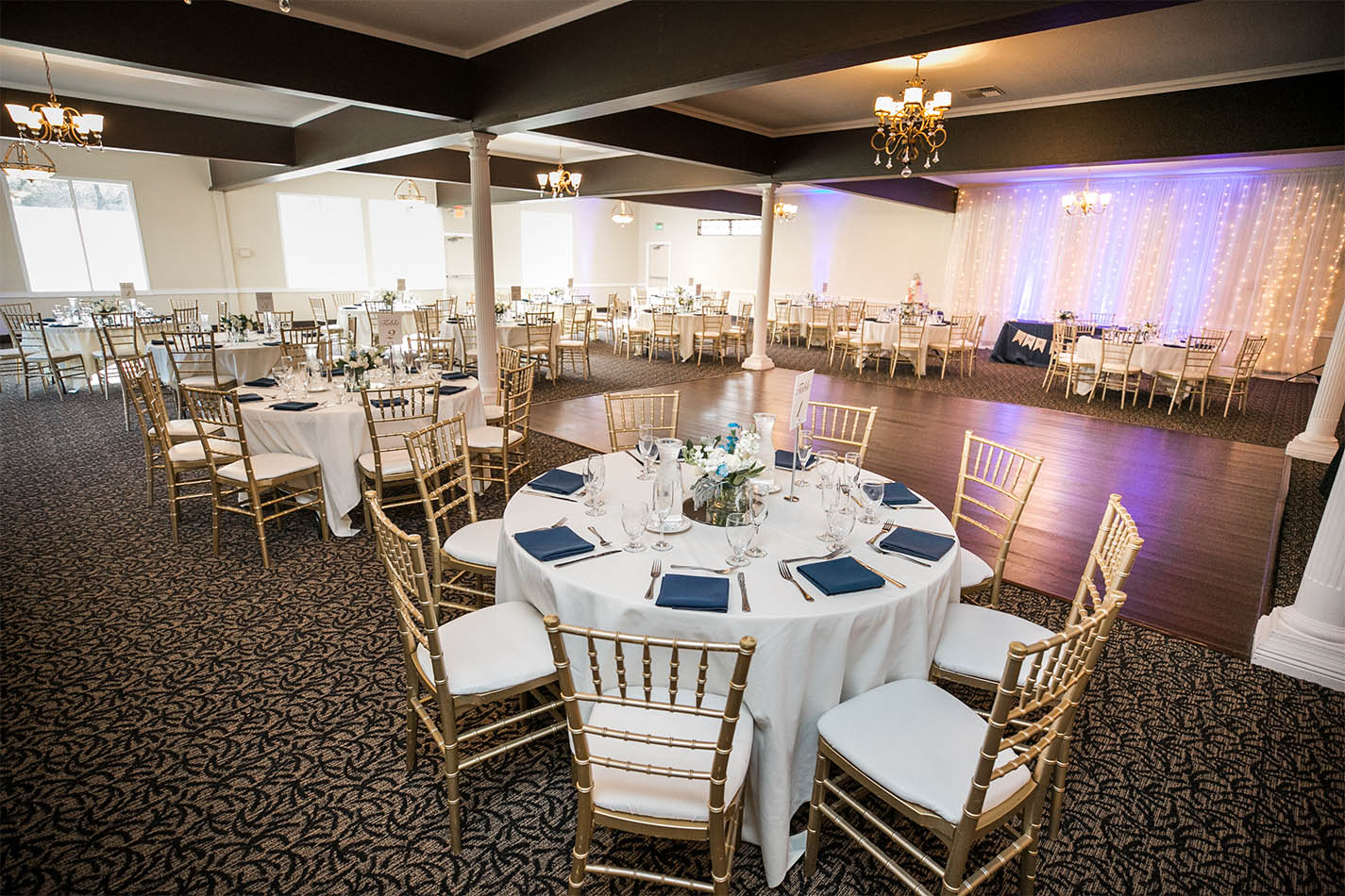 Recently renovated ballroom with new carpet and dance floor.