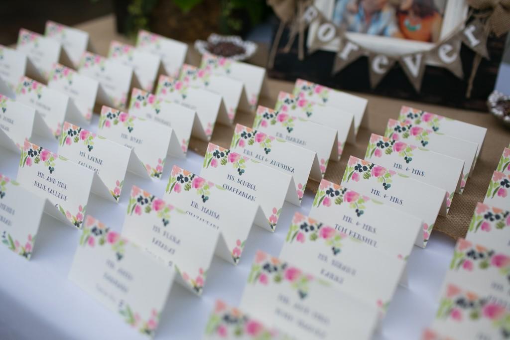 printed escort cards at Wedgewood Weddings