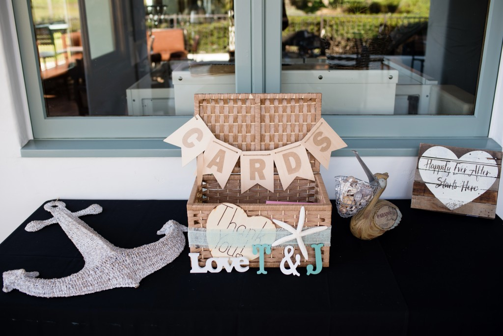 gorgeous southern California beach wedding cards table