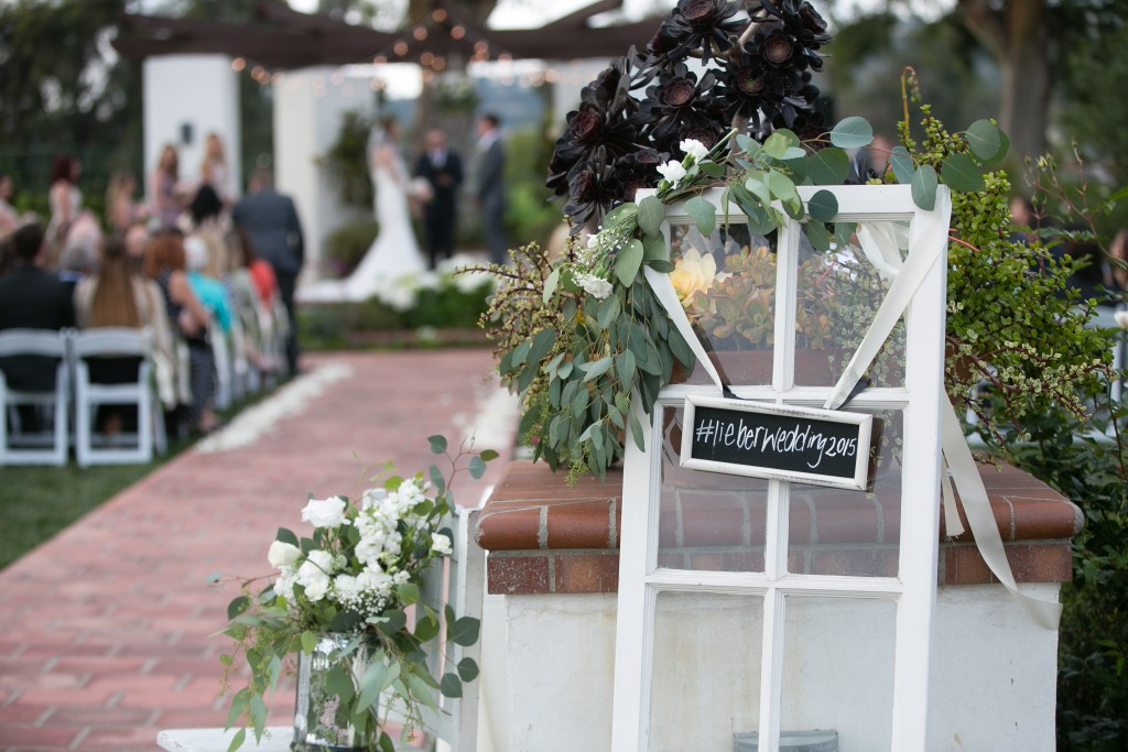 wedding hashtag sign at ceremony