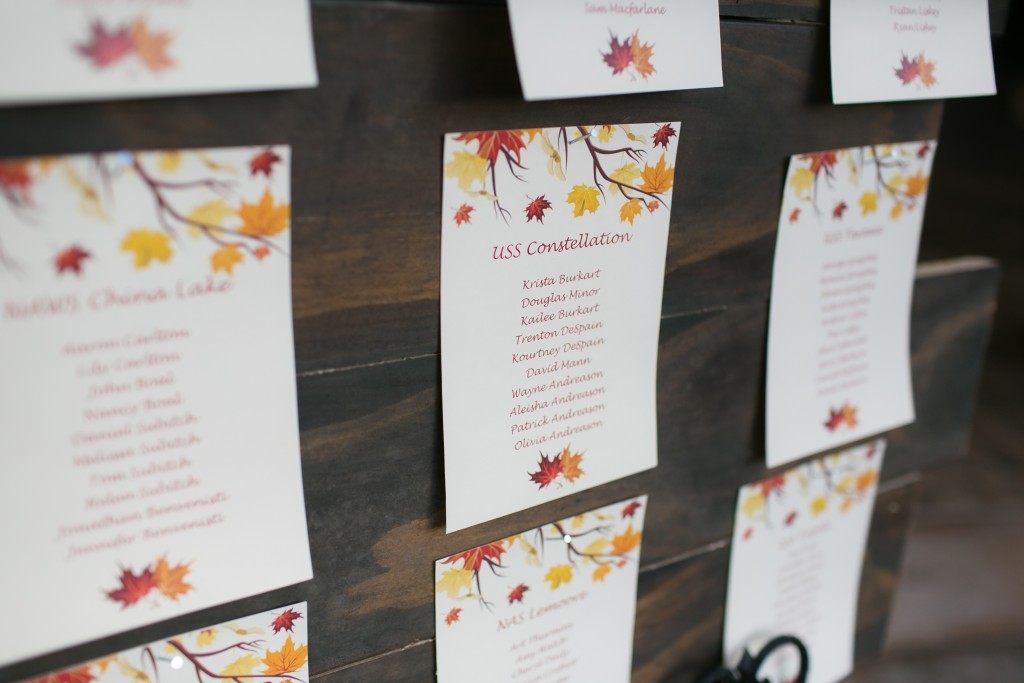 fall wedding seating chart