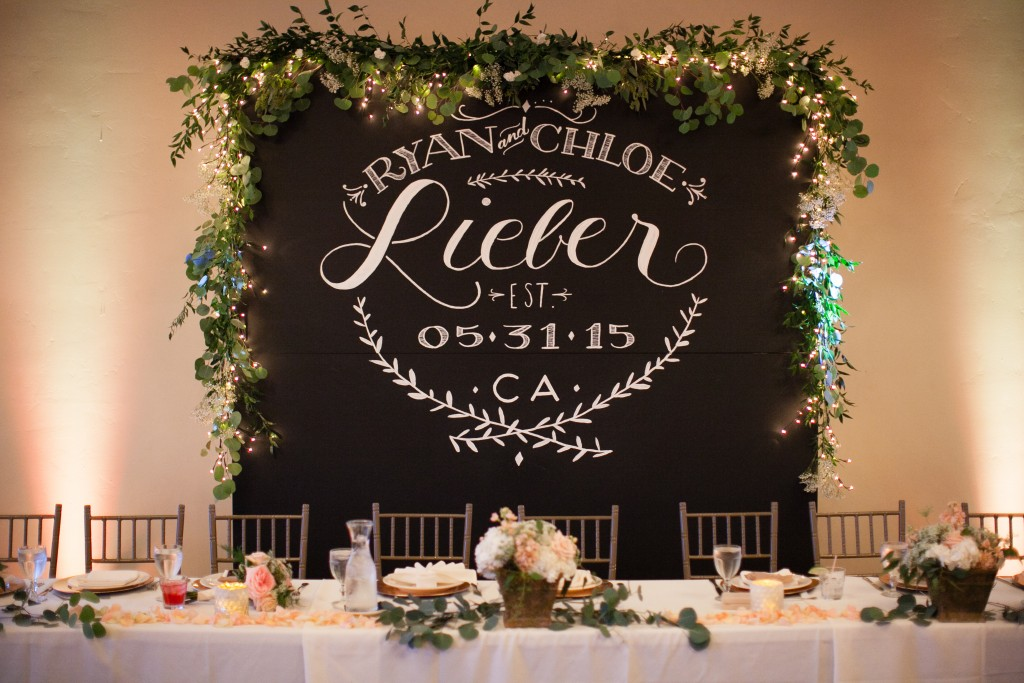 sweetheart table with gorgeous backdrop