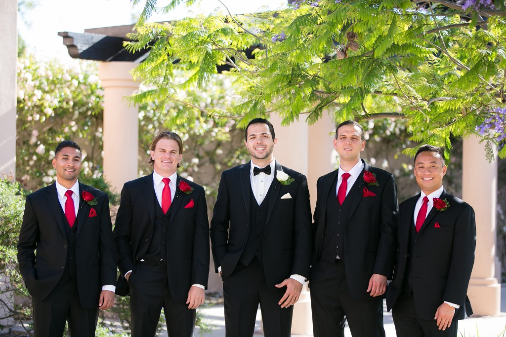 bordeaux gold wedding color scheme with the groomsmen