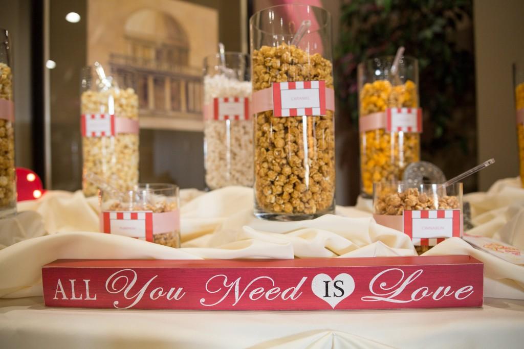 valentines theme wedding dessert table