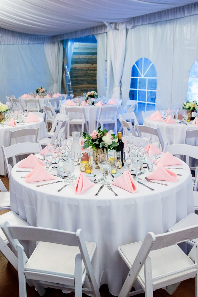beautiful Wedgewood Weddings white and pink wedding table linens