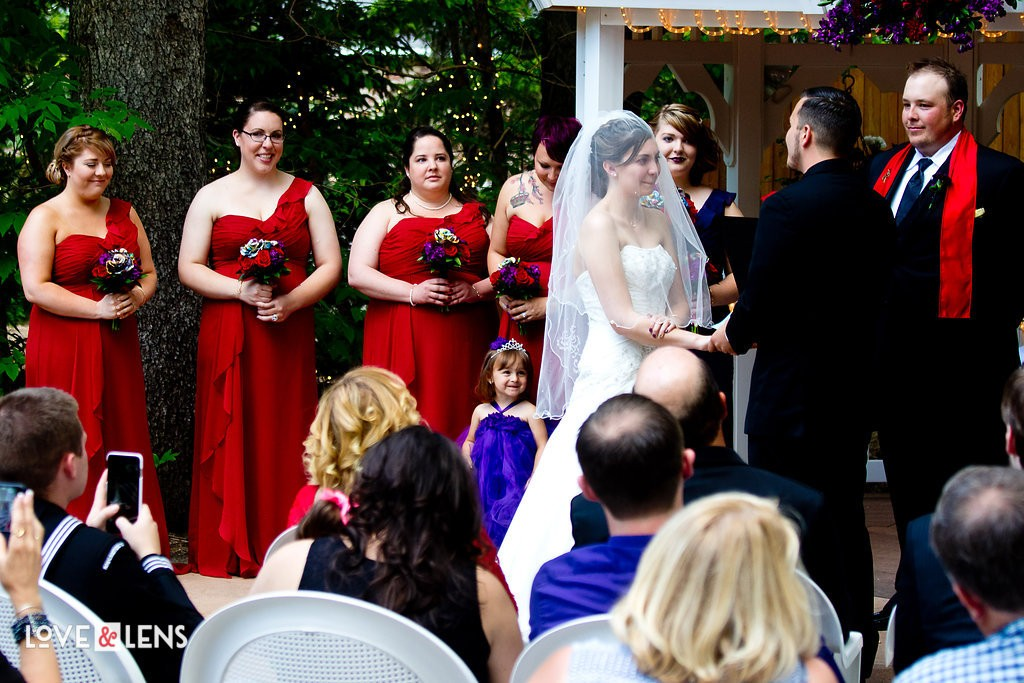 red wedding color scheme with the bridal party