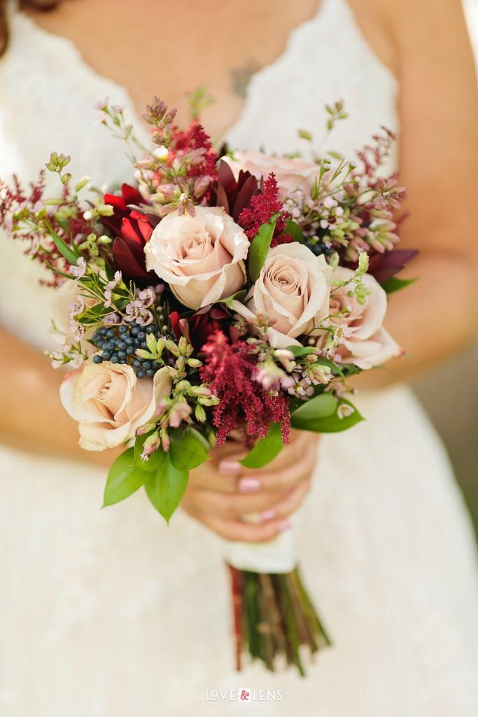 blush pink rose wedding bouquet