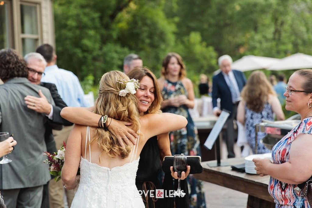 bride hugging loved ones