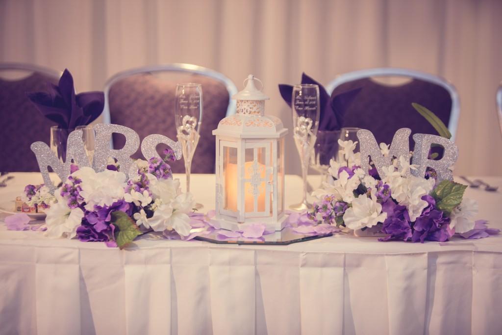 purple wedding color scheme mr & mrs table