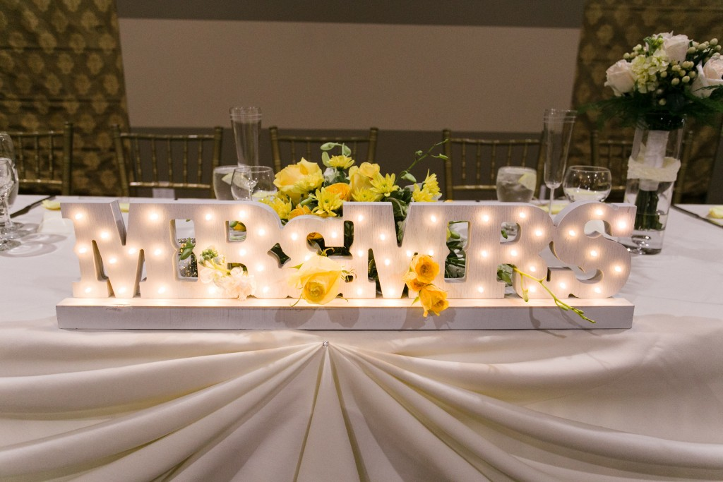 yellow white wedding color scheme mr & mrs table