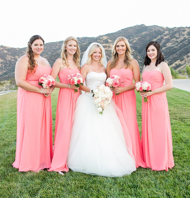 bridesmaids in bright pink