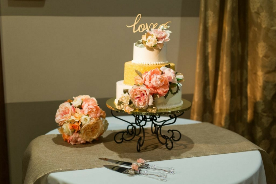 Wedding Cake with floral embellishments