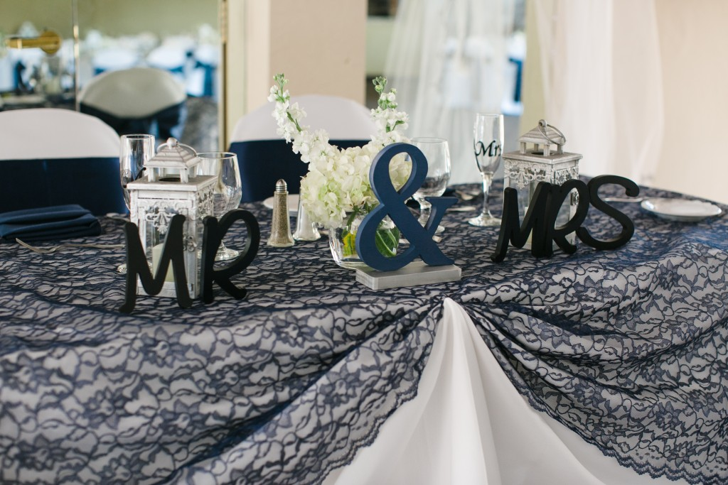 mr and mrs table with lace