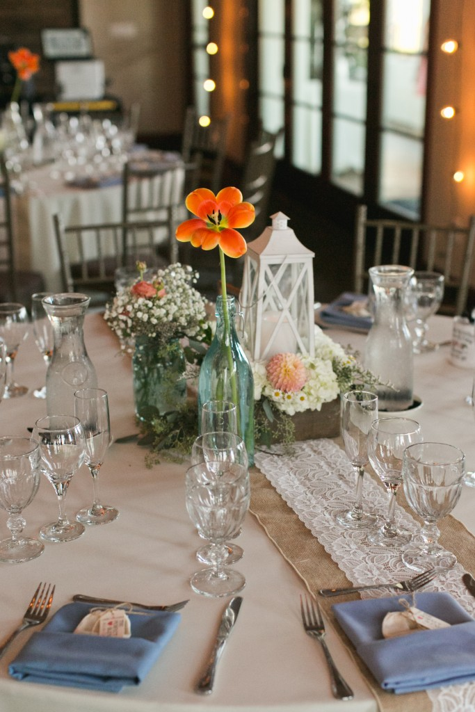 lovely rustic wedding floral centerpiece