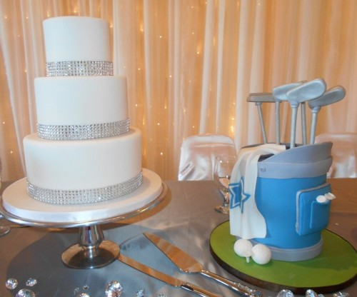 wedding cake table with golf themed set of club as cake